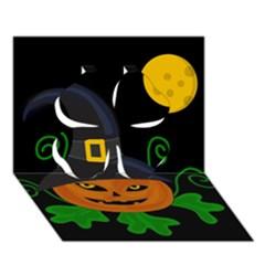 Halloween witch pumpkin Clover 3D Greeting Card (7x5)