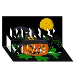 Halloween Witch Pumpkin Merry Xmas 3d Greeting Card (8x4)