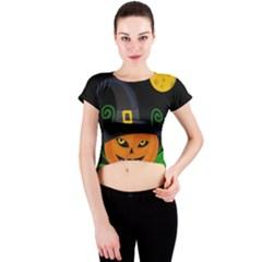 Halloween witch pumpkin Crew Neck Crop Top