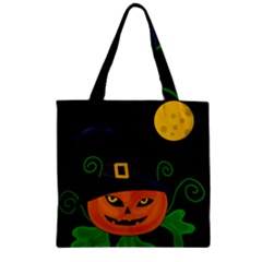 Halloween witch pumpkin Zipper Grocery Tote Bag