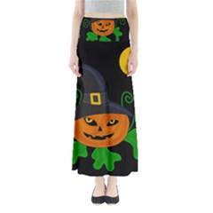 Halloween Witch Pumpkin Maxi Skirts
