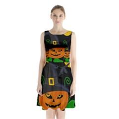 Halloween Witch Pumpkin Sleeveless Chiffon Waist Tie Dress
