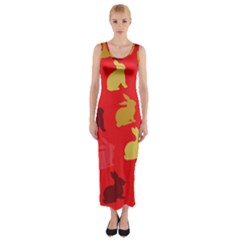Hare Easter Pattern Animals Fitted Maxi Dress