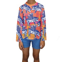 Little Flying Pigs Kids  Long Sleeve Swimwear