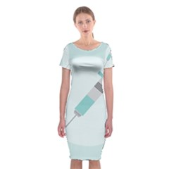Injection Medical Syringe Medicine Classic Short Sleeve Midi Dress