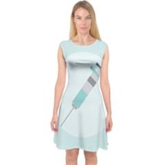 Injection Medical Syringe Medicine Capsleeve Midi Dress