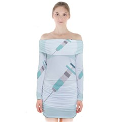 Injection Medical Syringe Medicine Long Sleeve Off Shoulder Dress