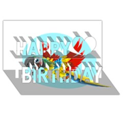 Parrot Happy Birthday 3D Greeting Card (8x4)