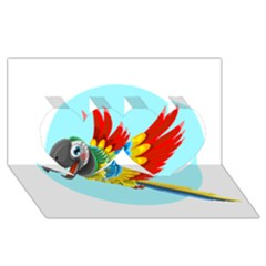 Parrot Twin Hearts 3D Greeting Card (8x4)