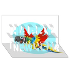 Parrot Happy New Year 3D Greeting Card (8x4)