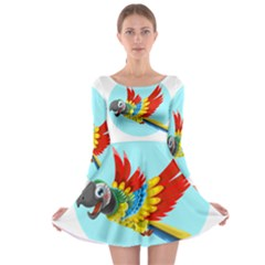 Parrot Long Sleeve Skater Dress