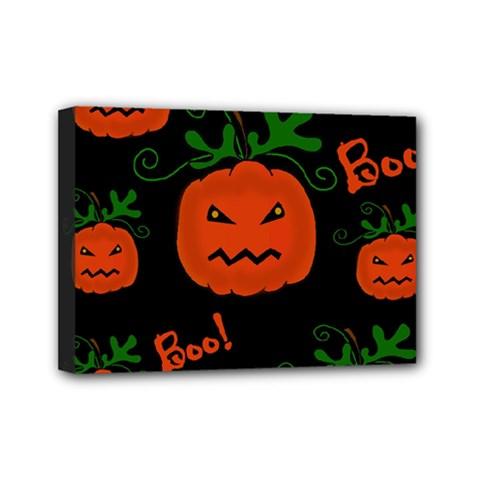 Halloween pumpkin pattern Mini Canvas 7  x 5