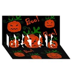 Halloween pumpkin pattern BEST SIS 3D Greeting Card (8x4)