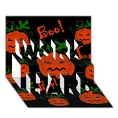 Halloween pumpkin pattern WORK HARD 3D Greeting Card (7x5)