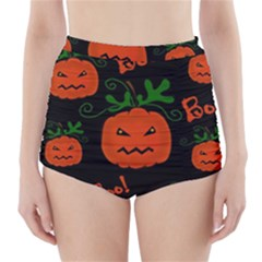 Halloween pumpkin pattern High-Waisted Bikini Bottoms