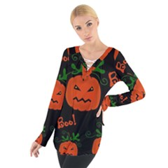 Halloween Pumpkin Pattern Women s Tie Up Tee