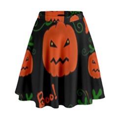 Halloween pumpkin pattern High Waist Skirt