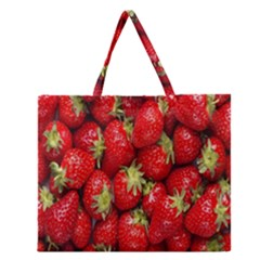 Red Fruits Zipper Large Tote Bag