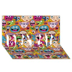 Smiley Pattern Best Sis 3d Greeting Card (8x4)