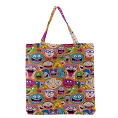 Smiley Pattern Grocery Tote Bag