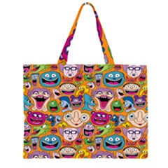 Smiley Pattern Zipper Large Tote Bag