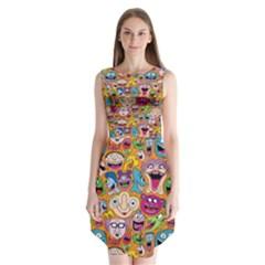 Smiley Pattern Sleeveless Chiffon Dress