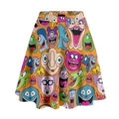 Smiley Pattern High Waist Skirt