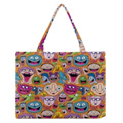 Smiley Pattern Medium Zipper Tote Bag