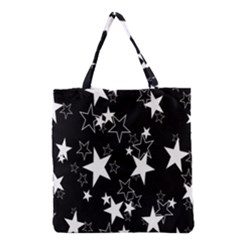 Star Black White Grocery Tote Bag