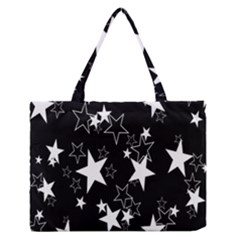 Star Black White Medium Zipper Tote Bag