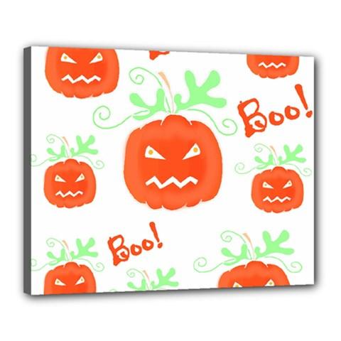 Halloween pumpkins pattern Canvas 20  x 16