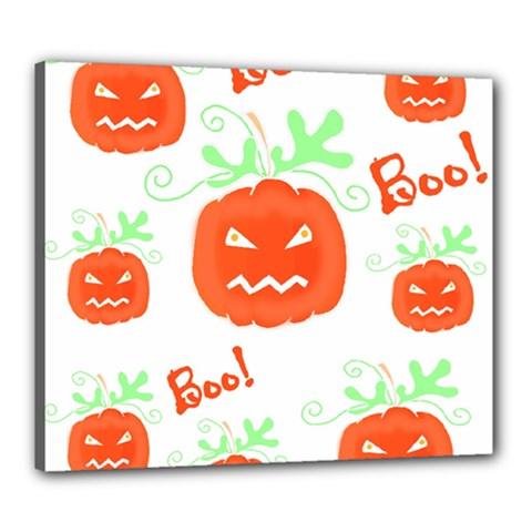 Halloween pumpkins pattern Canvas 24  x 20