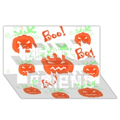 Halloween pumpkins pattern Best Friends 3D Greeting Card (8x4)