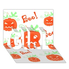 Halloween pumpkins pattern GIRL 3D Greeting Card (7x5)