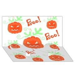 Halloween pumpkins pattern Twin Heart Bottom 3D Greeting Card (8x4)