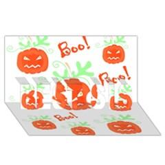 Halloween Pumpkins Pattern Best Sis 3d Greeting Card (8x4)
