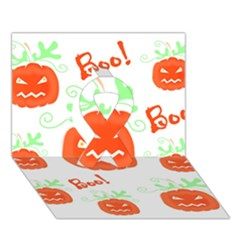 Halloween pumpkins pattern Ribbon 3D Greeting Card (7x5)