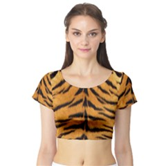 Tiger Skin Short Sleeve Crop Top (Tight Fit)