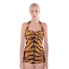 Tiger Skin Boyleg Halter Swimsuit