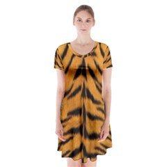 Tiger Skin Short Sleeve V Neck Flare Dress