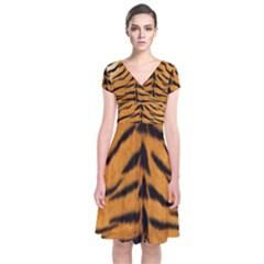 Tiger Skin Short Sleeve Front Wrap Dress