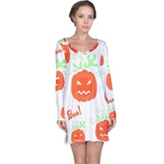 Halloween pumpkins pattern Long Sleeve Nightdress
