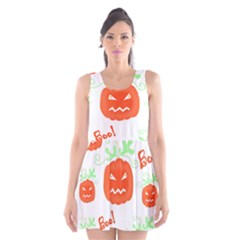 Halloween pumpkins pattern Scoop Neck Skater Dress
