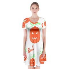 Halloween Pumpkins Pattern Short Sleeve V Neck Flare Dress