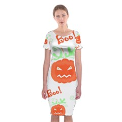 Halloween pumpkins pattern Classic Short Sleeve Midi Dress