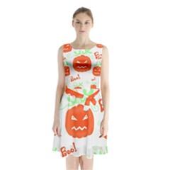 Halloween Pumpkins Pattern Sleeveless Chiffon Waist Tie Dress
