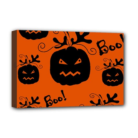 Halloween black pumpkins pattern Deluxe Canvas 18  x 12