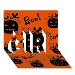 Halloween black pumpkins pattern GIRL 3D Greeting Card (7x5)