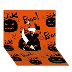 Halloween black pumpkins pattern Ribbon 3D Greeting Card (7x5)
