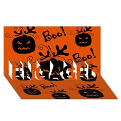 Halloween black pumpkins pattern ENGAGED 3D Greeting Card (8x4)